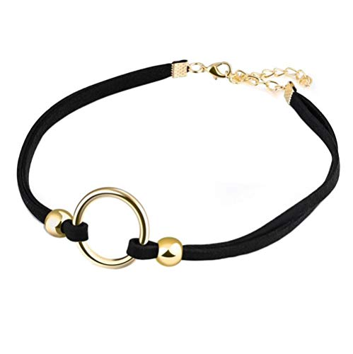 PAMTIER Womens Black Velvet Circle Round Chrams Pendant Ribbon Gothic Collar Choker Necklace with Beads Gold
