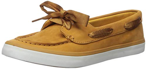 Sperry womens Sailor Boat Leather Sneaker, Mustard, 6.5 US