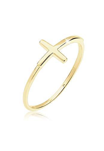 Elli PREMIUM Ring Damen Kreuz Trend Geo Minimal in 375 Gelbgold