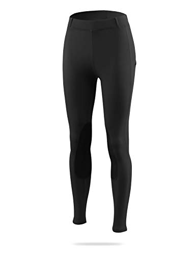 BALEAF Women's Riding Tights Knee-Patch Breeches Horse Pants Equestrian Active Schooling Pocket UPF50+ Black XS