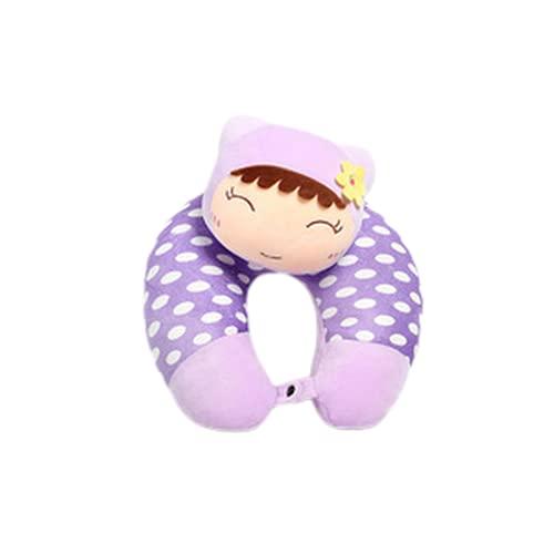 Almohada de Cuello de Viaje ushaped, Almohada de Cuello de Viaje portátil, diseño de muñecas de Dibujos Animados Lindo, algodón súper Suave de PP, Adecuado para niños, Parejas, Amigos