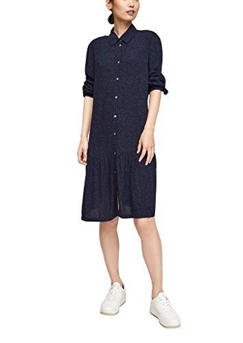 s.Oliver Damen Blusenkleid mit Millefleurs-Print dark blue AOP 38