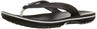 Crocs Crocband Flip Flop | Slip-on Sandals | Shower Shoes, Black, Men's 8, Women's 10 Medium