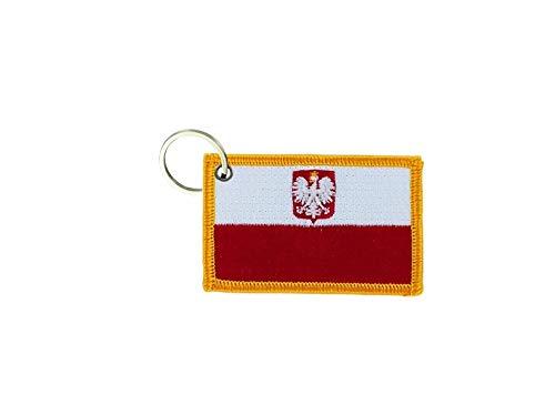 akachafactory Porte cle cles Clef Brode Patch ecusson Badge Drapeau Pologne polonais Polska