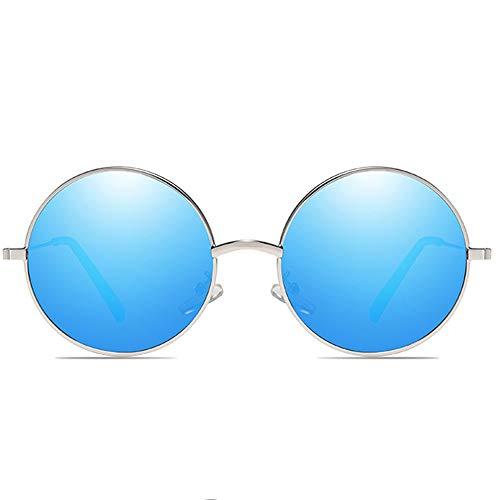 Zhhhk Las Gafas De Sol Retro Polarizadas UV400 Son for Hombres Y Mujeres Azul Plata con Las Mismas Gafas De Sol (Color : Blue)