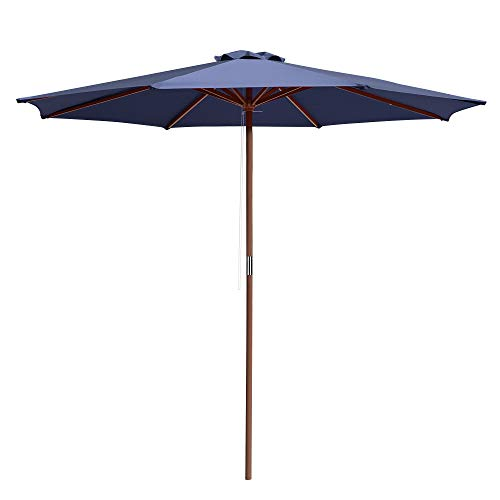 Yescom 9Ft Wooden Patio Umbrella with Rope Pulley 8 Rib Outdoor Backyard Deck Table Garden Parasol...