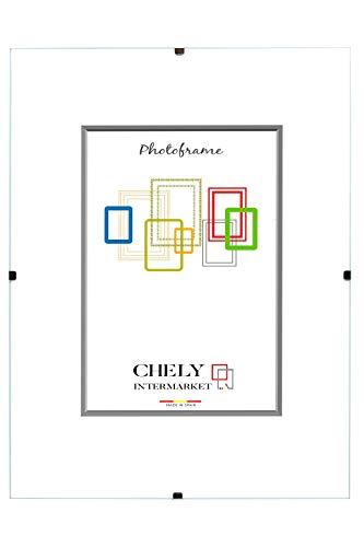 Chely Intermarket, Marco Clip 40x60 cm de metacrilato | Soporte sin Marco para fotografías, Posters, certificados y Recuerdos. Complemento idóneo para Colgar en la Pared(300-40x60-1)