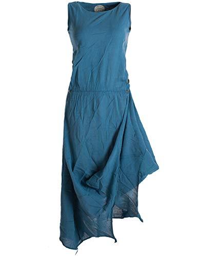 Vishes - Alternative Bekleidung - Ärmelloses Lagenlook Kleid aus Baumwolle zum Hochbinden türkis 40-42