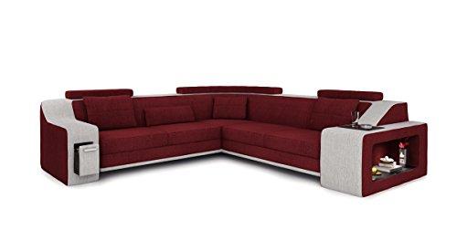 Bullhoff by Giovanni Capellini Eckcouch Sofa Couch Stoff Wohnlandschaft modern Design Ecksofa mit LED-Licht Beleuchtung Berlin II