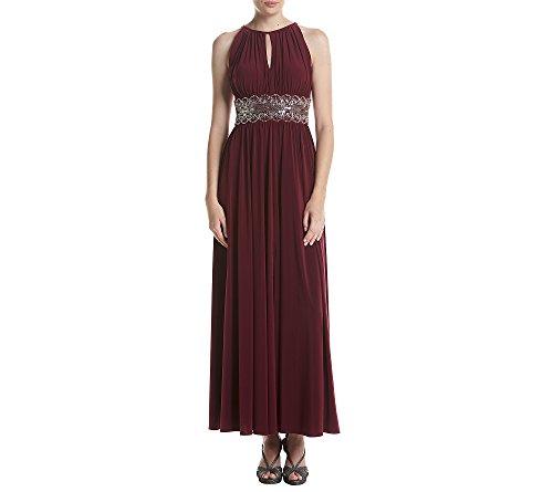 R&M Richards Women's Beaded Waist Gown, Merlot, 16