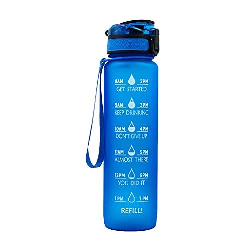 Botella de agua con pajita 1000 ml con marcas de tiempo, sin BPA, botellas deportivas para acampar al aire libre, gimnasio, deportes, fitness, 1 clic abierto con boquilla abatible (negro y azul)