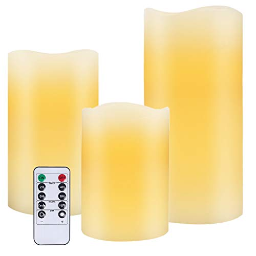 Flameless Battery Operated Flicking Candles: LED Electric Remote Control Timer Votive Realistic Large Pillar Fake Candles Outdoor for Home Decoration Chrismas Wedding etc (Set of 3)