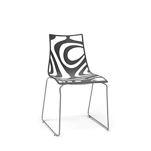 Scab Set 2 Design Wave Chaise Pied traîneau Gris Anthracite-Transparent