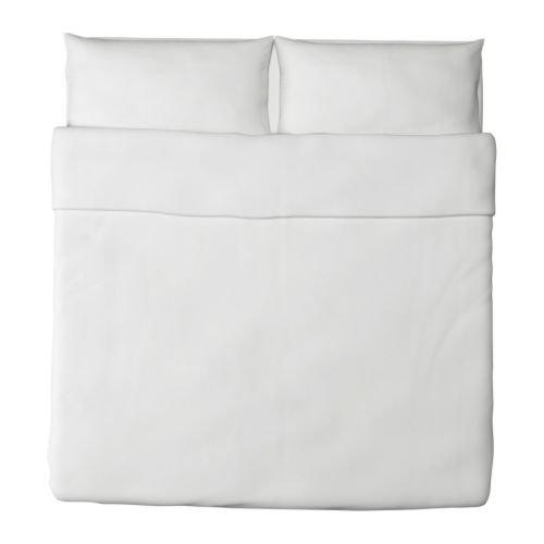Ikea Dvala Duvet Cover and Pillowcase, White, King