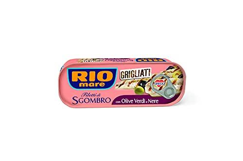 Rio Mare Filetti di Sgombro Grigliati con Olive Verdi e Nere, Ricchi di Omega 3, 1 Lattina da 120g
