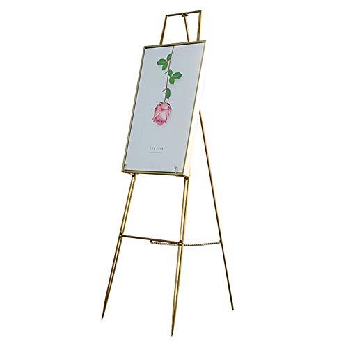 Nai-tripod Soporte Exhibición Bienvenida Boda, Caballete Pintura óLeo Hierro Forjado para Estudiantes Ajuste áNgulo y Altura Stand Publicitario (Color : Gold, Size : 115cm)
