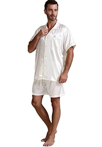 Seda de seda for hombre Pijamas Set de manga corta y pantalones cortos Ropa de dormir clásica Loungewear Button-Down PJ Set Sleepwear (Color : 7, Size : XX-Large)