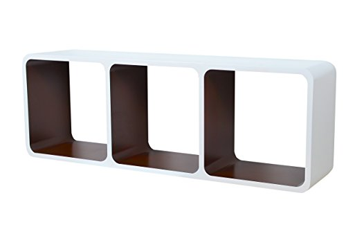 Etagères Design Rétro Mur Bibliothèque Cubes Cube Décoratif étalage Vitrine Blanc & Brun LO13BS