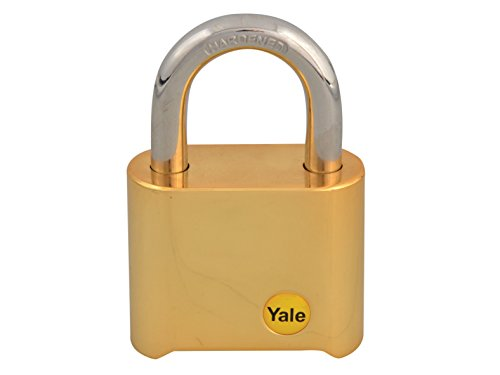 Yale Y126/50/127/1 Brass Combination Padlock, 50mm, pack of 1, suitable for gates and garages