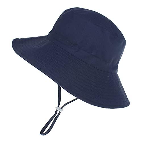 Highdi Sombrero de Sol para Niños, Sombrero Pescador Verano Unisexo Niño Niña Gorra de Sol con Correa de Barbilla Ajustable Color Sólido, Bebé Sombrero de Playa UPF 50+ (S(46-50cm),azul marino)
