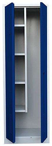 Flügeltürenschrank Kleiderschrank Stahl Besenschrank Putzschrank PutzSpind Putzmittelschrank 515721 blau kompl. montiert und verschweißt