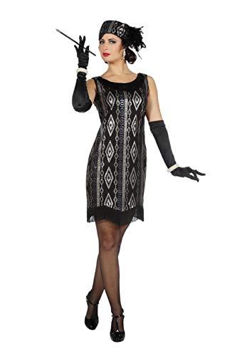 TH-MP Disfraz de Charleston de los aos 20 y 30 para mujer, con flecos, color negro y plateado, con sombrero (42)