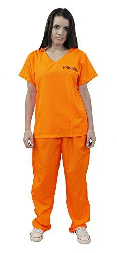 Disfraz de prisionero para mujer, color naranja, talla M