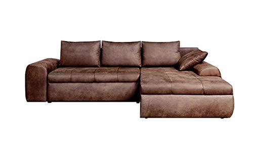 lifestyle4living Ecksofa mit Schlaffunktion und Bettkasten in Braun | Gemütliches Mikrofaser L-Sofa im Vintage-Look mit Stauraum inkl. 4 Rückenkissen