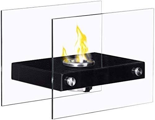 Buy Bargain Portable Ventless Firepit Bio Ethanol Tabletop Fireplace Elegant Tabletop Fireplace is Made of a Stainless Steel Base and Tempered Glass Walls on Either Side. Black