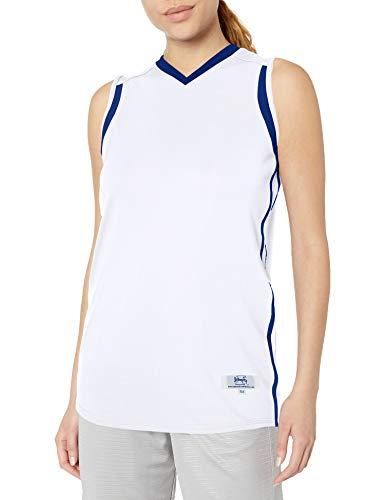 Intensity Damen Basketballtrikot mit Flacher Rückseite, Netzstoff, enganliegend, niedrig geschnitten M Weiß/Königsblau