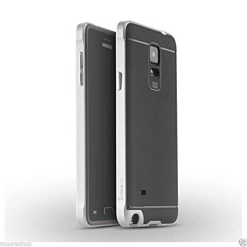 Ikijcover - Funda original para Samsung Galaxy Note 4, carcasa Bumper Armor N910F N910C Ultra Slim Bumper silicona TPU flexible rígida (plata)
