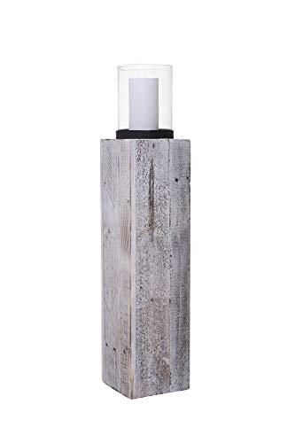 Vivanno Windlicht Windlichtsäule Kerzenhalter Säule Recycling Holz Lumira 76 cm hoch Shabby Chic Weiß