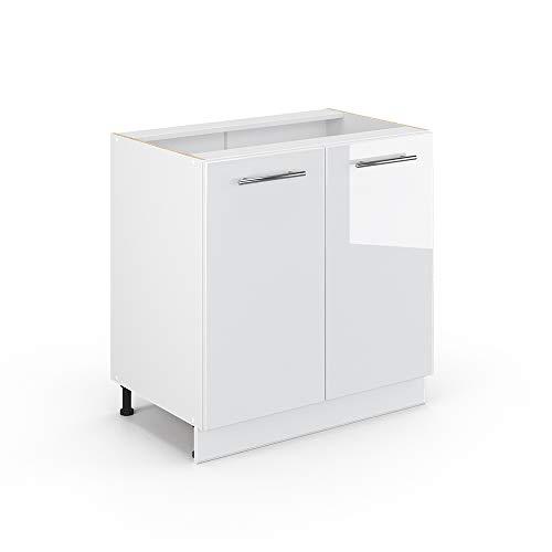 Vicco Küchenschrank Hängeschrank Unterschrank Küchenzeile Hochglanz Fame-Line (Weiß Hochglanz, Unterschrank 80 cm)