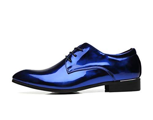Zapatos de Fiesta de Boda para Hombres Zapatos de Cuero con Cordones cómodos Zapatos de Punta Puntiaguda de Hombre Color sólido Casual Oxfords