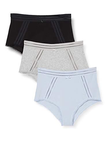 Amazon-Marke: Iris & Lilly Damen Slips, 3er-Pack, Mehrfarbig (Black Melange Zen Blue), XXL, Label: XXL