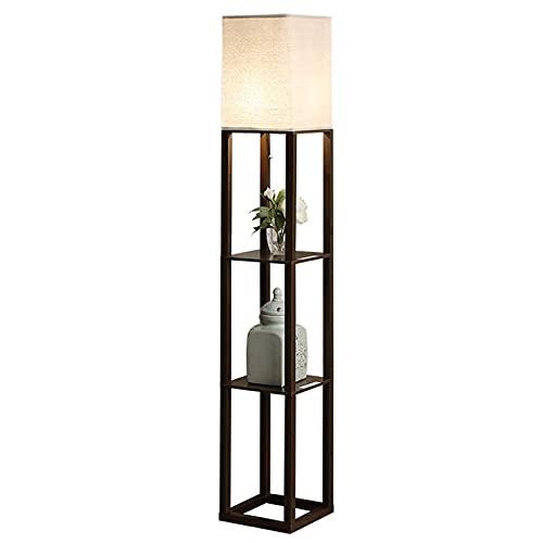 Indoor LED-plank vloerlamp – staande licht voor woonkamers en slaapkamers – houten frame met displayplanken – met USB…
