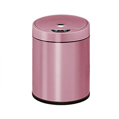 XHHWZB Sensor Inteligente de 8L con Tapa de Acero Inoxidable, Papelera, hogar Multifuncional, Sala de Estar, Almacenamiento de Basura, latas Creativas (Color : Rosa roja)