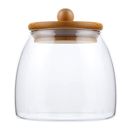 Nbrand - Tarro de almacenamiento de alimentos de cristal para cocina, bidón con tapa de madera hermética, botella de almacenamiento de cristal para té a granel, grano de café, azúcar, sal