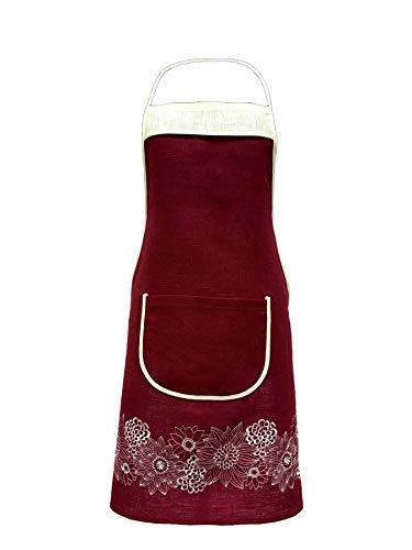 Juego de delantal y toalla de cocina 100% lino con bordado floral, Granate
