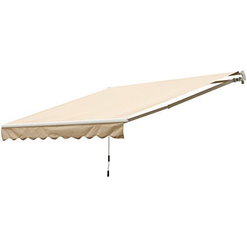 Outsunny Toldo Balcón Terraza Patio Toldo Manual Plegable de Aluminio con Manivela Impermeable Protección Solar UV para Jardín Exterior 295x245 cm Aluminio Acero Tela de Poliéster