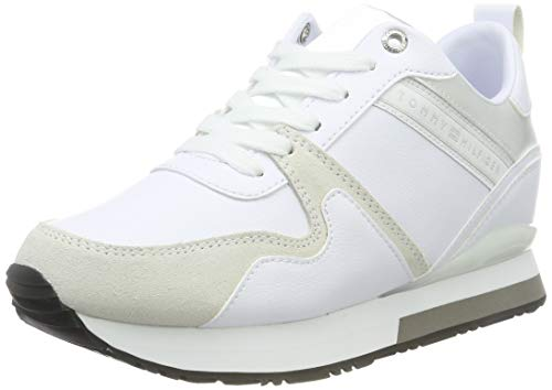Tommy Hilfiger Iridescent Wedge Sneaker, Scarpe da Ginnastica Basse Donna, Bianco (White 100), 39 EU