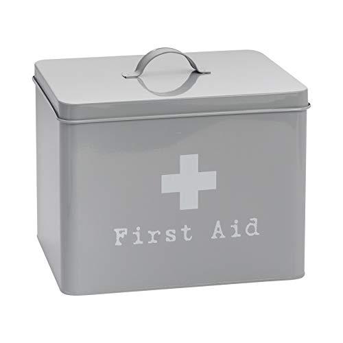 Harbour Housewares Kasten für Erste-Hilfe-Zubehör und Medikamente - Metall im Vintage-Look - Grau