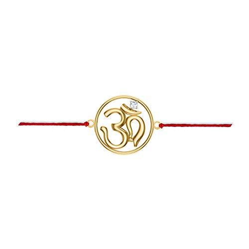 DISHIS 18k Yellow Gold and Diamond Om Rakhi bracelet for Men