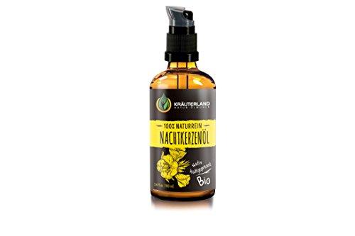 Kräuterland Nachtkerzenöl, Bio Hautöl, 100ml, kaltgepresst, 100% naturrein, für Gesichts- und Körperpflege, ideal als Massageöl, für trockene und empfindliche Haut (Nachtkerzenöl 100ml)