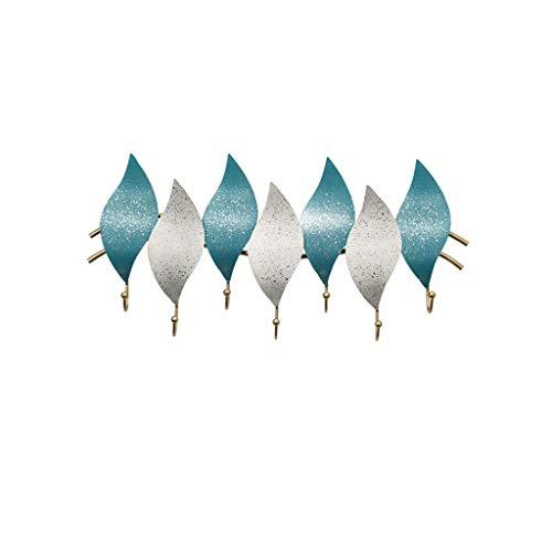OH Escudo Perchero Montado en la Pared Percha para Ropa Organizador Rack Rack Gancho Montado en la Pared de Metal para Mudroom Baño Puerta de Entrada Perchero habitación/Azul + bl