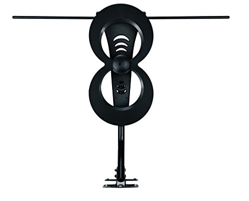 Antennas Direct Clearstream 2Max TV Antenna, 60+ Mile Range, UHF/Vhf, Multi-Directional, Indoor/Outdoor, Base Stand, Mast W/Pivoting Base/Hardware/Adjustable Clamp/Sealing Pads, 4K, Black – C2MVJ-5