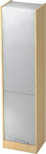 bümö® Aktenschrank mit Rollladen | Rollladenschrank für Aktenordner | Büroschrank für Akten | Büromöbel | Rolladenschrank in 5 Farben (Ahorn/Silber)
