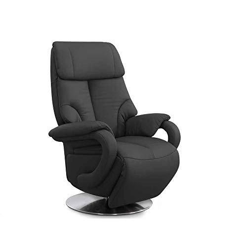 CAVADORE Leder-Sessel Istanbul / Fernsehsessel mit manuell verstellbarer Relaxfunktion / 80 x 115 x 79 / Echtleder: Schwarz