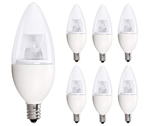 6 Pack 40 Watt Candelabra Bulbs 5W Dimmable Candelabra LED Bulbs C37 E12 Base 325 lumens,120° Beam Angle 3000K Soft White LED Candle Bulbs UL Listed Bioluz LED Pack of 6