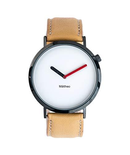 Reloj Minimalista para Hombre o Mujer. Modelo Jobs Camel. Correa de Cuero y Ajustable. Reloj de Esfera Redonda de diámetro de 40mm. Reloj Resistente al Agua.